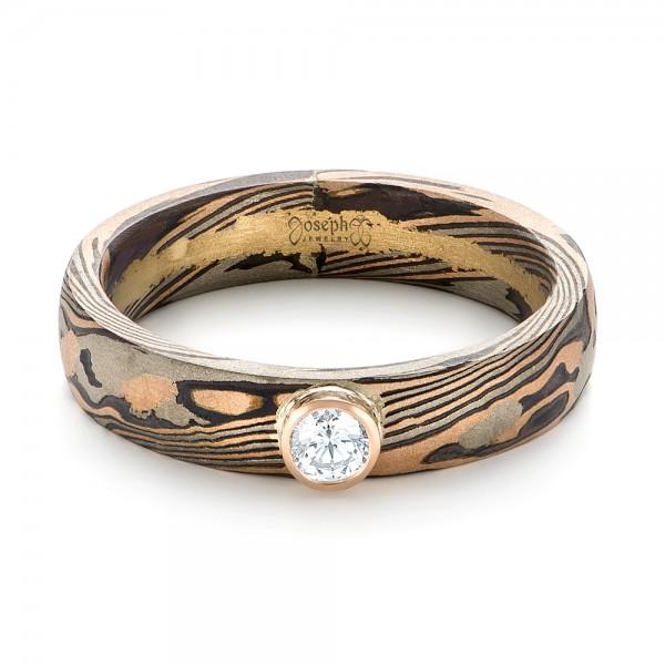 Custom Mokume Solitaire Diamond Engagement Ring - Laying View