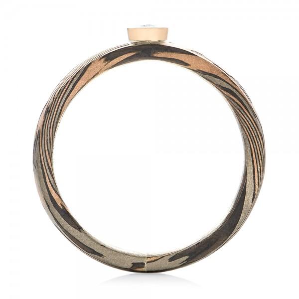 Custom Mokume Solitaire Diamond Engagement Ring - Finger Through View