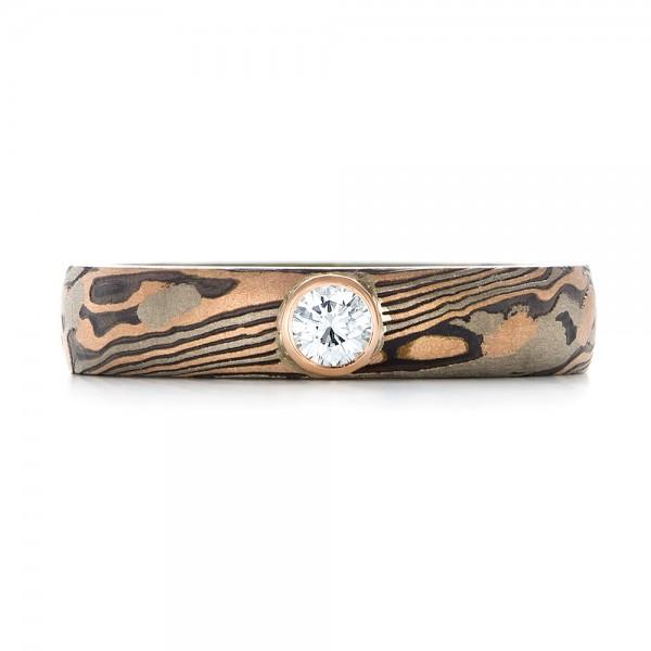 Custom Mokume Solitaire Diamond Engagement Ring - Top View