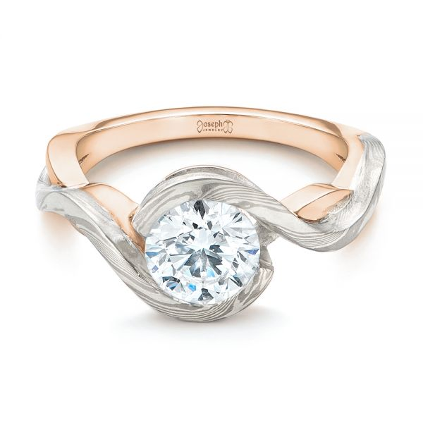 18k Rose Gold And 14K Gold 18k Rose Gold And 14K Gold Custom Mokume Solitaire Diamond Engagement Ring - Flat View -