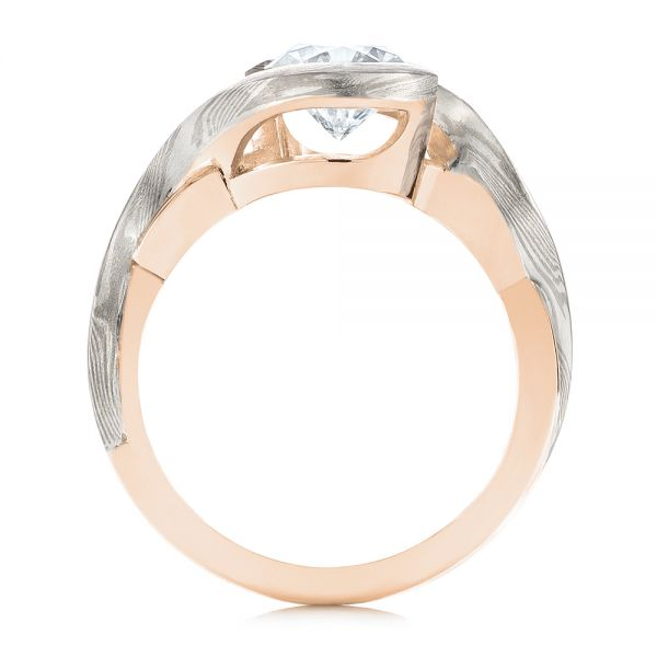 18k Rose Gold And 14K Gold 18k Rose Gold And 14K Gold Custom Mokume Solitaire Diamond Engagement Ring - Front View -