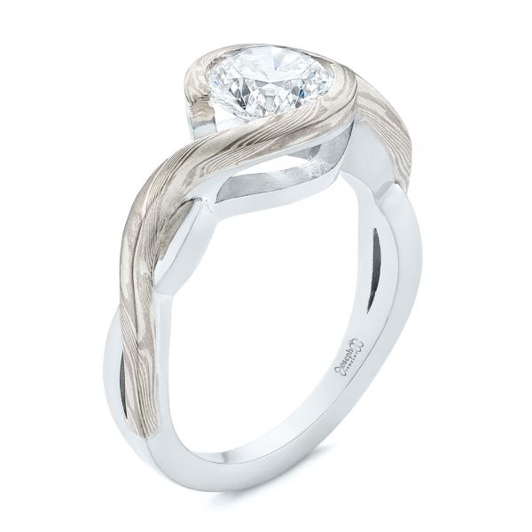Custom Mokume and Platinum Solitaire Diamond Engagement Ring - Image