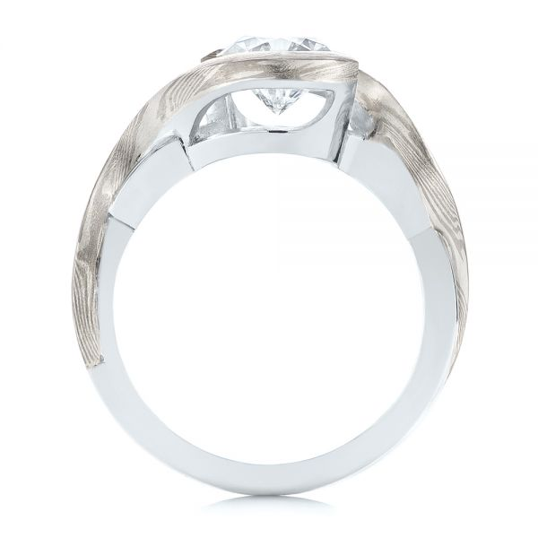 Custom Mokume and Platinum Solitaire Diamond Engagement Ring - Front View -  104827 - Thumbnail