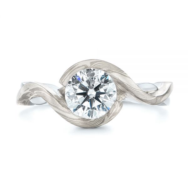 Custom Mokume and Platinum Solitaire Diamond Engagement Ring - Top View -  104827 - Thumbnail