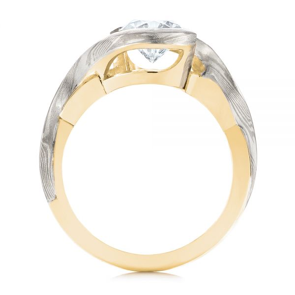 18k Yellow Gold And 14K Gold 18k Yellow Gold And 14K Gold Custom Mokume Solitaire Diamond Engagement Ring - Front View -