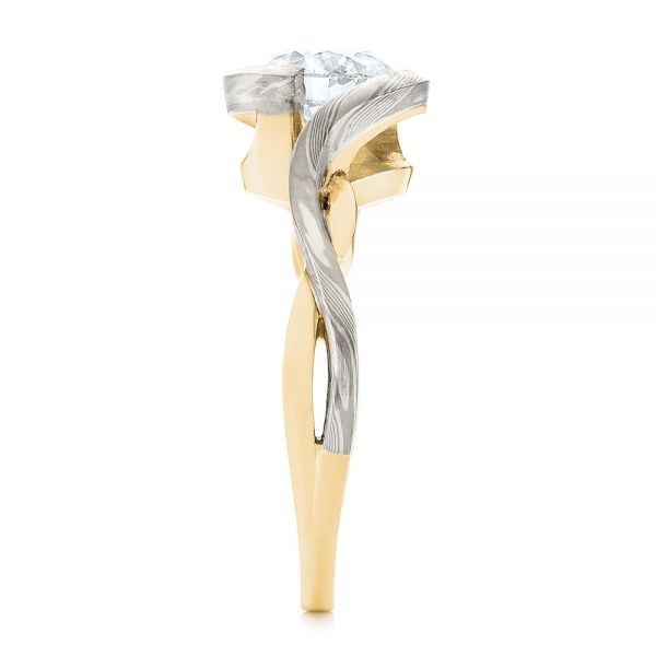 18k Yellow Gold And 14K Gold 18k Yellow Gold And 14K Gold Custom Mokume Solitaire Diamond Engagement Ring - Side View -