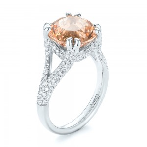 Custom Morganite and Diamond Engagement Ring - Image