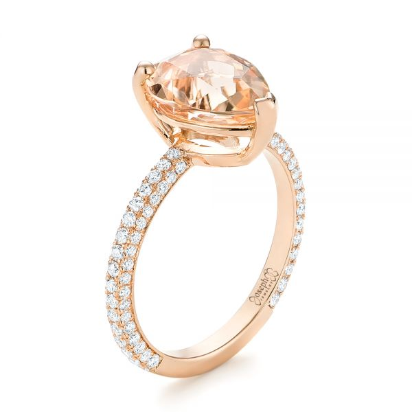 18k Rose Gold 18k Rose Gold Custom Morganite And Diamond Engagement Ring - Three-Quarter View -