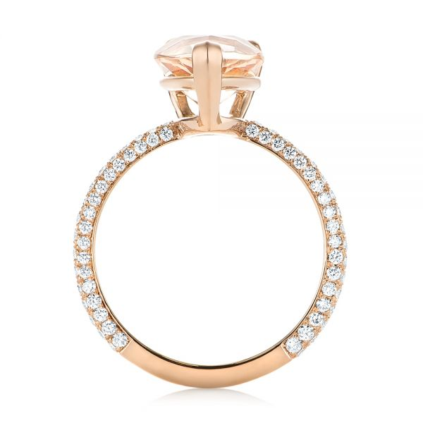 18k Rose Gold 18k Rose Gold Custom Morganite And Diamond Engagement Ring - Front View -