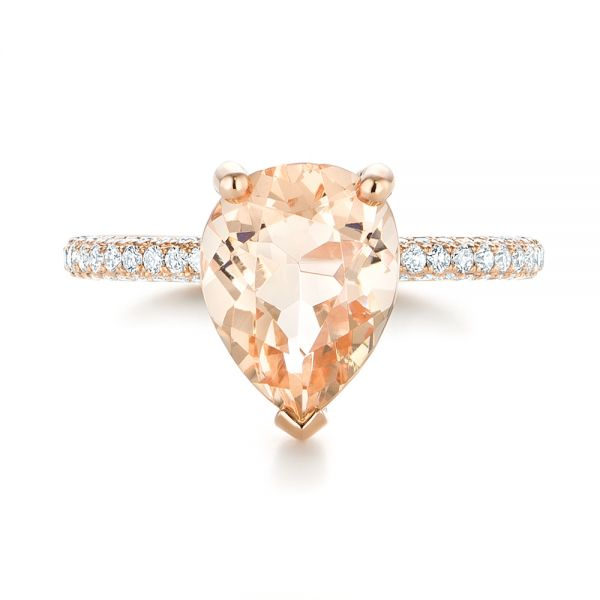 18k Rose Gold 18k Rose Gold Custom Morganite And Diamond Engagement Ring - Top View -