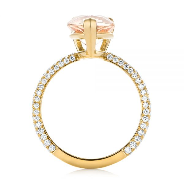 18k Yellow Gold 18k Yellow Gold Custom Morganite And Diamond Engagement Ring - Front View -