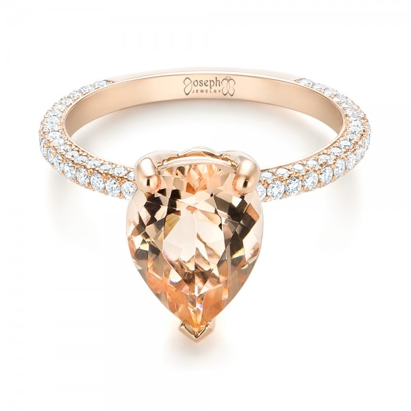 Custom Morganite and Diamond Engagement Ring - Laying View