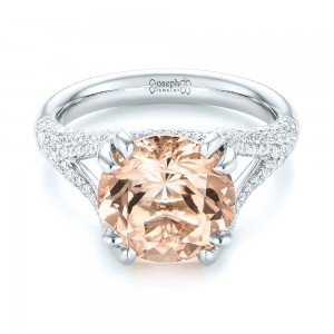 Custom Morganite and Diamond Engagement Ring