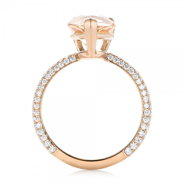 Custom Morganite and Diamond Engagement Ring - Finger Through View