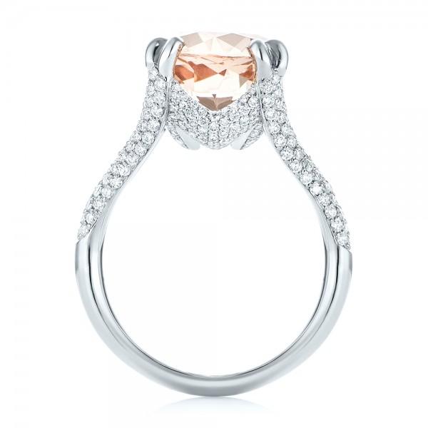 Custom Morganite and Diamond Engagement Ring - Finger Through View