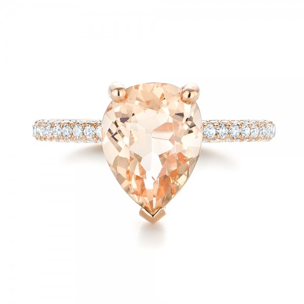 Custom Morganite and Diamond Engagement Ring - Top View