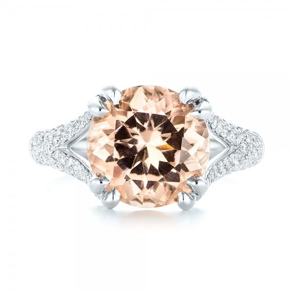 Custom Morganite and Diamond Engagement Ring - Top View