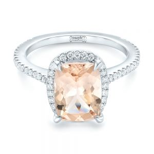Custom Morganite and Diamond Halo Engagement Ring