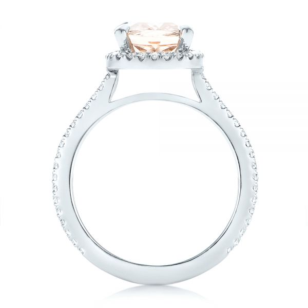 Platinum Custom Morganite And Diamond Halo Engagement Ring - Front View -