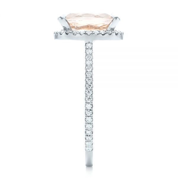 Platinum Custom Morganite And Diamond Halo Engagement Ring - Side View -