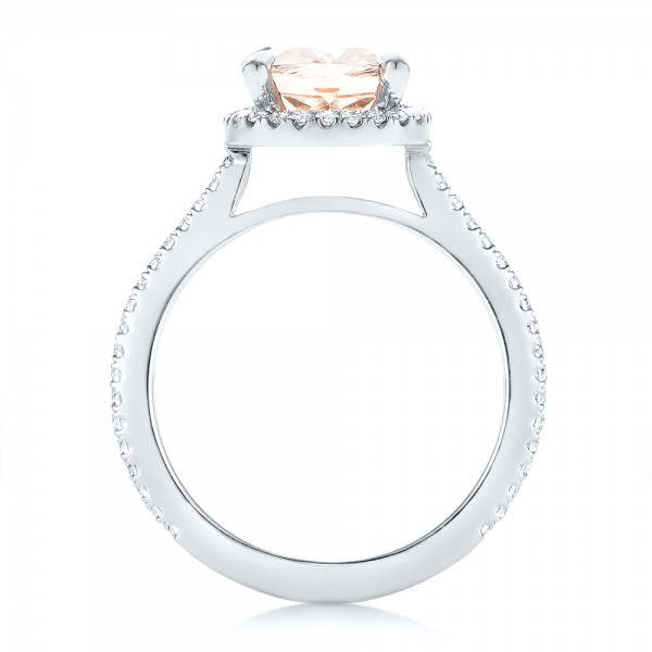 Custom Morganite and Diamond Halo Engagement Ring - Finger Through View