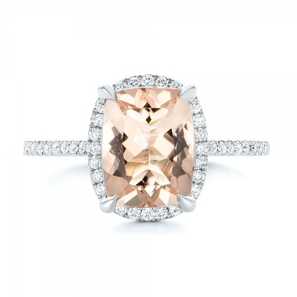 Custom Morganite and Diamond Halo Engagement Ring - Top View