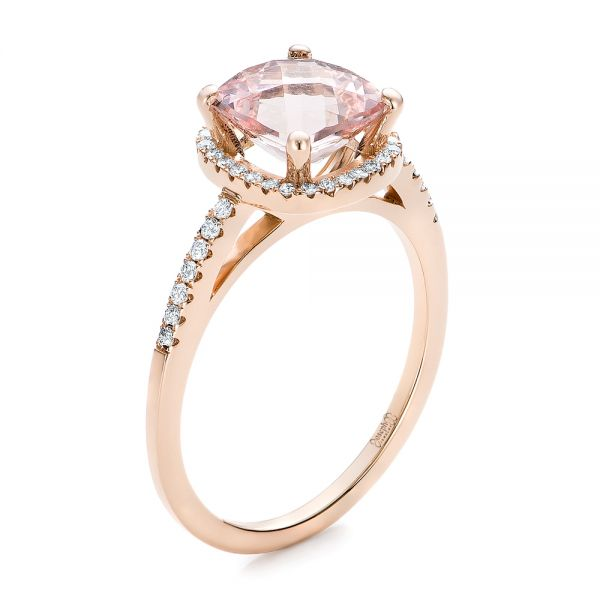 14k Rose Gold Custom Morganite And Diamond Halo Engagement Ring - Three-Quarter View -