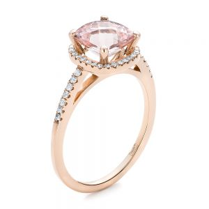 Custom Morganite and Diamond Halo Rose Gold Engagement Ring - Image