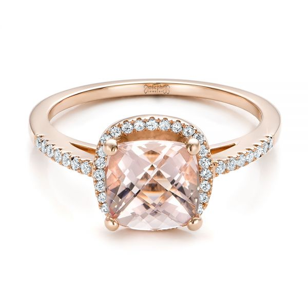 14k Rose Gold Custom Morganite And Diamond Halo Engagement Ring - Flat View -