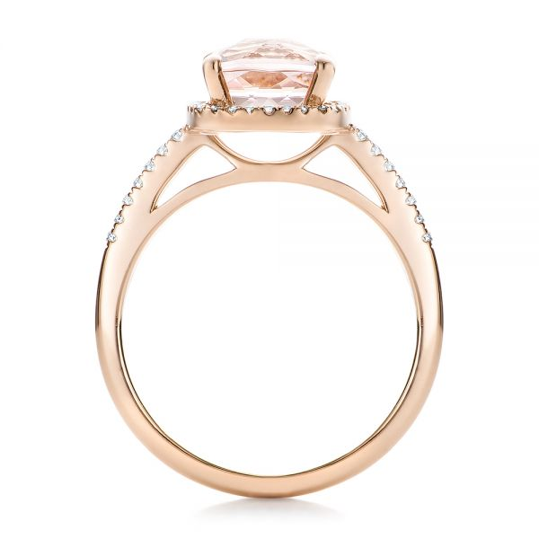 14k Rose Gold Custom Morganite And Diamond Halo Engagement Ring - Front View -