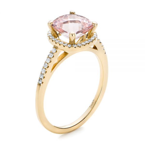 14k Yellow Gold 14k Yellow Gold Custom Morganite And Diamond Halo Engagement Ring - Three-Quarter View -
