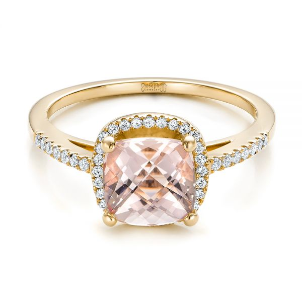 14k Yellow Gold 14k Yellow Gold Custom Morganite And Diamond Halo Engagement Ring - Flat View -