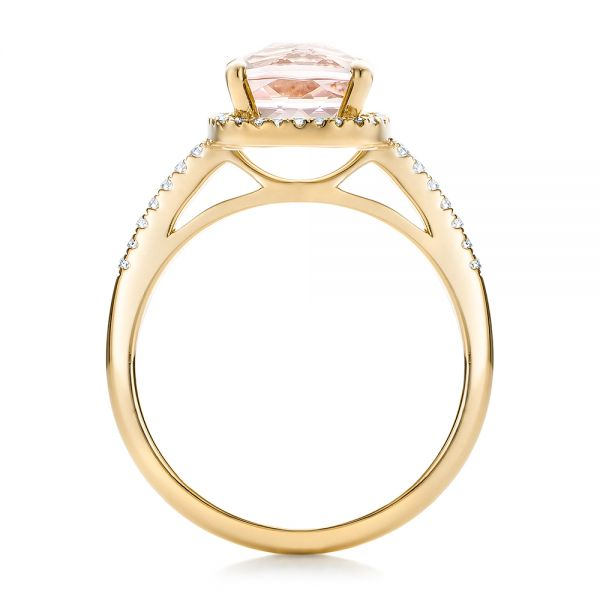 14k Yellow Gold 14k Yellow Gold Custom Morganite And Diamond Halo Engagement Ring - Front View -