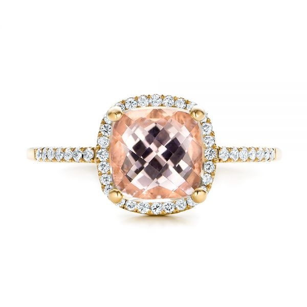 14k Yellow Gold 14k Yellow Gold Custom Morganite And Diamond Halo Engagement Ring - Top View -