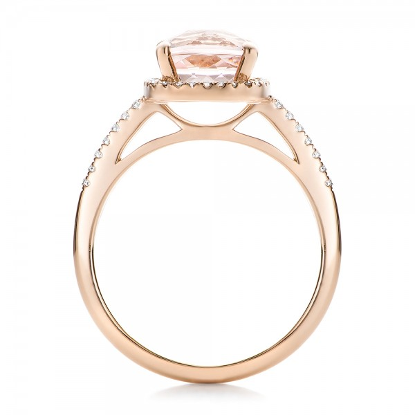 Custom Morganite and Diamond Halo Rose Gold Engagement Ring