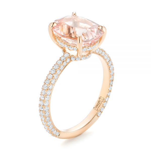 Custom Morganite and Pave Diamond Engagement Ring - Image