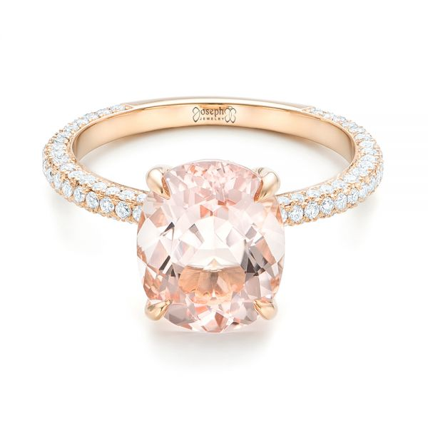 18k Rose Gold Custom Morganite And Pave Diamond Engagement Ring - Flat View -