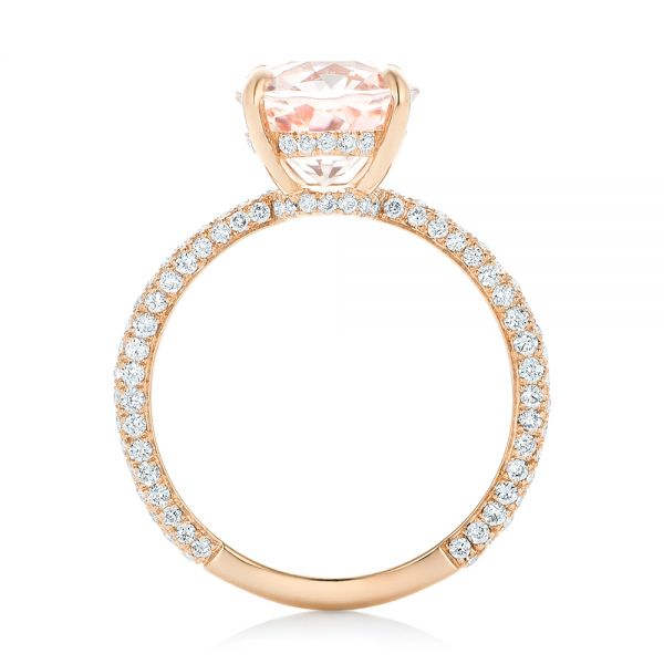 18k Rose Gold Custom Morganite And Pave Diamond Engagement Ring - Front View -