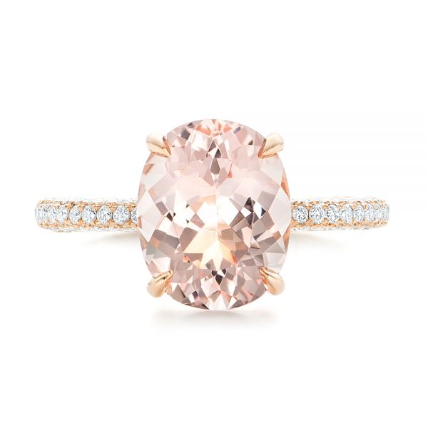 18k Rose Gold Custom Morganite And Pave Diamond Engagement Ring - Top View -
