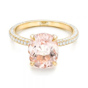 Custom Morganite and Pave Diamond Engagement Ring
