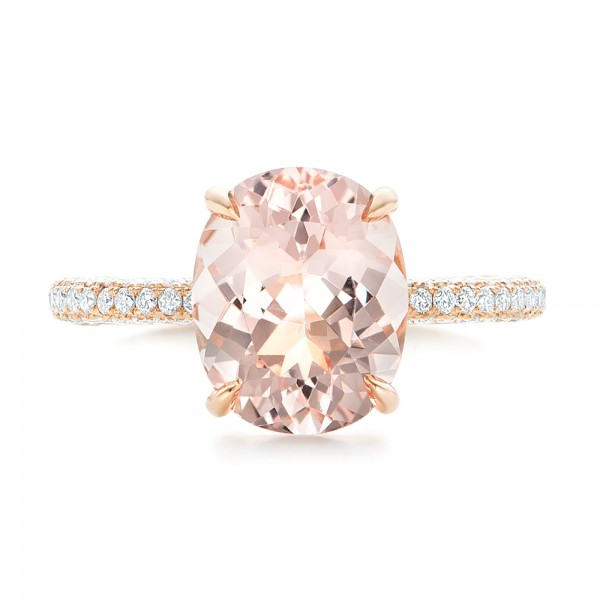 Custom Morganite and Pave Diamond Engagement Ring - Top View