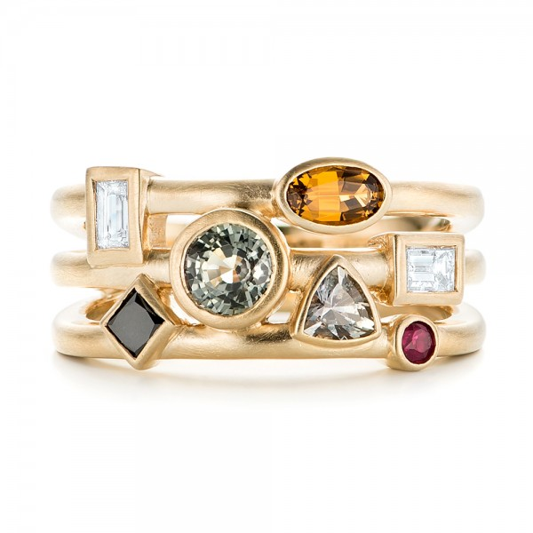 Custom Multi-Color Gemstones and Yellow Gold Engagement Ring - Top View