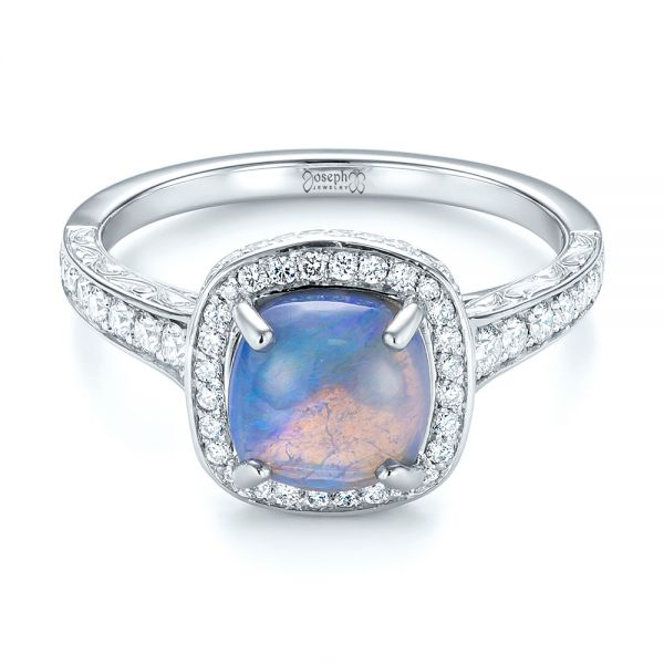 Platinum Custom Opal And Diamond Halo Engagement Ring - Flat View -