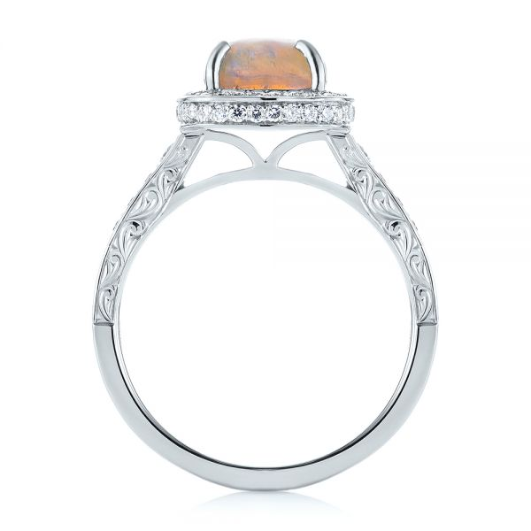 Platinum Custom Opal And Diamond Halo Engagement Ring - Front View -