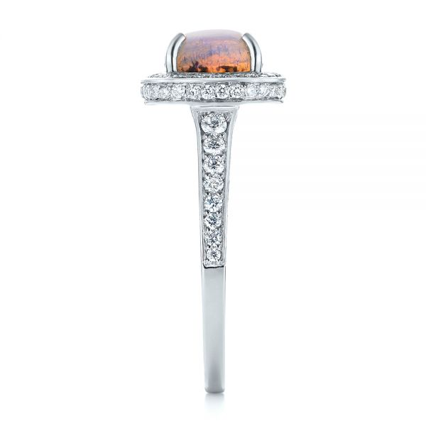 Platinum Custom Opal And Diamond Halo Engagement Ring - Side View -