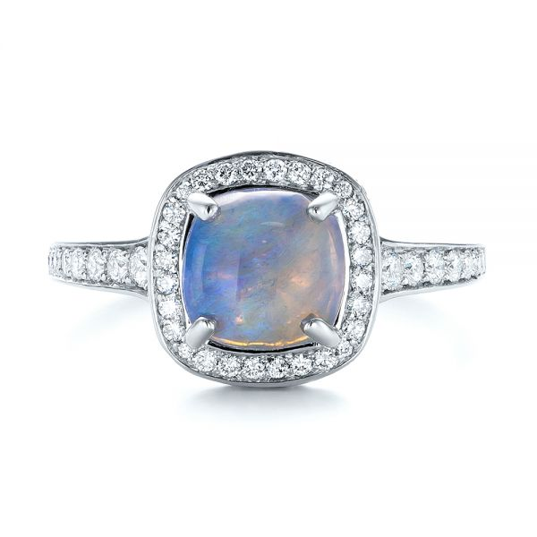 Platinum Custom Opal And Diamond Halo Engagement Ring - Top View -
