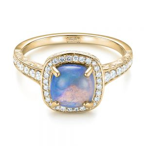 Custom Opal and Diamond Halo Engagement Ring