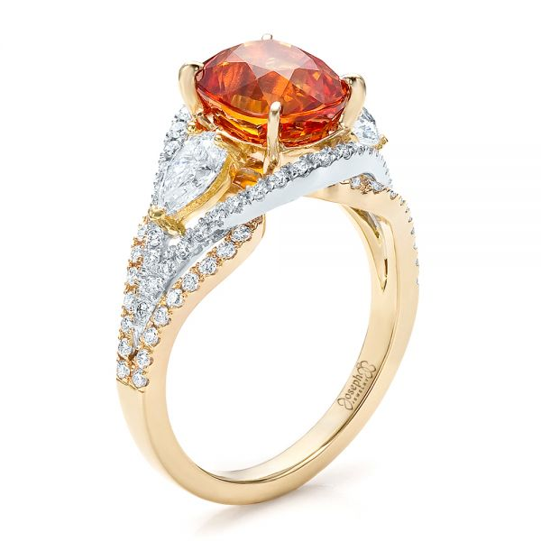 14k Yellow Gold And 14K Gold Custom Orange Sapphire Engagement Ring - Three-Quarter View -