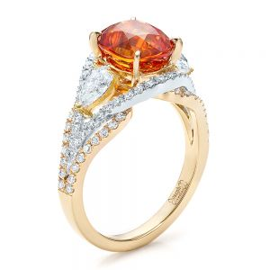 Custom Orange Sapphire Engagement Ring - Image