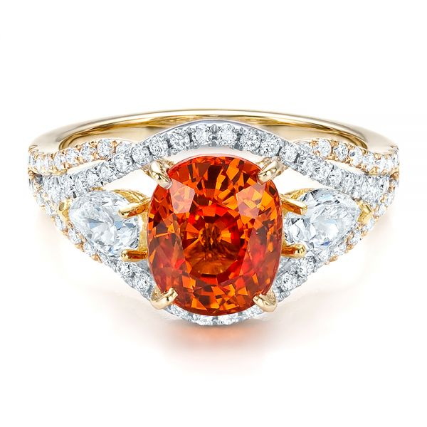 14k Yellow Gold And 14K Gold Custom Orange Sapphire Engagement Ring - Flat View -